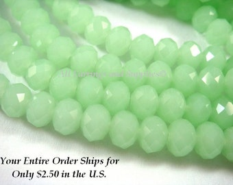 50 Mint Glass Bead Rondelles Opaque Faceted Light Green Abacus 6x4mm - 50 pc - G6026-MT50
