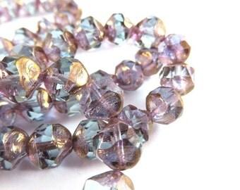 10 Blue Czech Picasso Bead Light Aqua Blue Transparent Faceted Glass Central Cut Baroque Beads 8mm - 10 pc - G6079-ACC10-AG