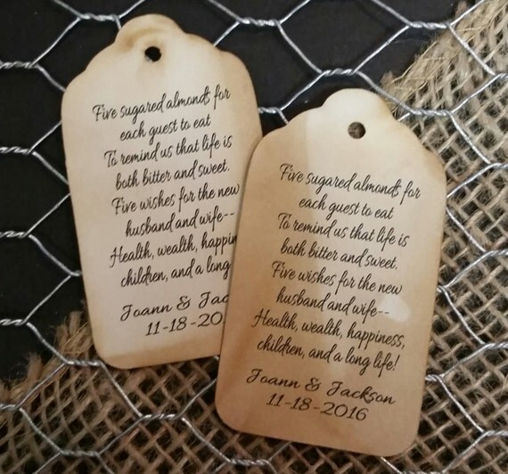 Five sugared almonds for each quest to eat Script or Plain font MEDIUM Personalized Wedding Favor Tag  choose your amount