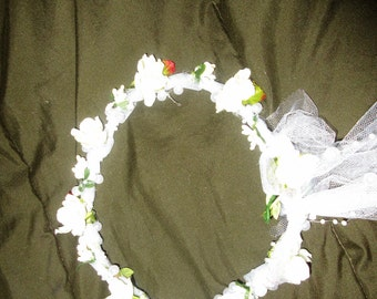Headpiece  Circlet  Adjustable  Bridal Headpiece  Dogwood Blossoms