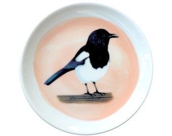 Porcelain dish with bird illustration - Magpie- made to order