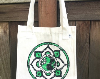 INTRODUCTORY PRICING Harmony Mandala ROOMY Organic Cotton Tote Hand Drawn Mandala Great for Yoga Lovers, Artists, Photographers, Students