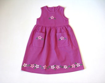 Pink Flower Dress, Two Pocket Empire Waist Hand Dyed and Hand Painted Sleeveless Cotton Jumper