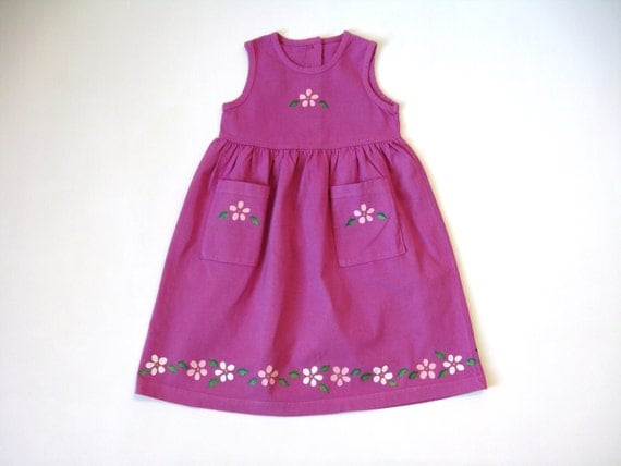 Flower Dress, Two Pocket Dress, Flower Theme, Party Dress, Empire Waist, Baby or Toddler, Hand Dyed, Hand Painted, Sleeveless Cotton Jumper