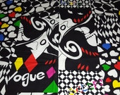 vintage 80s novelty fabric, featuring great stylized Vogue magazine cover print, 1 yard, 2 available, priced PER YARD