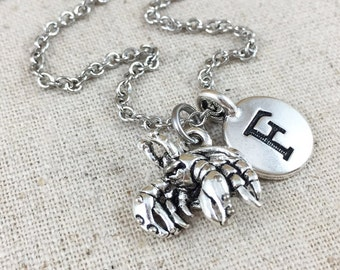Hermit Crab Charm Necklace, Personalized With An Initial Charm, Personalized Jewelry, Silver Hermit Crab Charm Jewelry