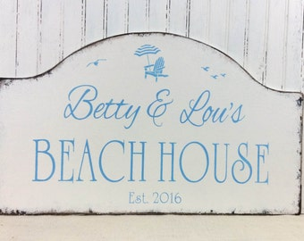 BEACH HOUSE sign, rustic hand painted beach sign, personalized beach sign, shore house sign, beach cottage sign