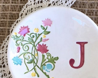 Bridesmaid Gift Ring Dish Summer Floral, Ring Dish Personalized, Ring Dish Monogram, Wedding Ring Dish Holder,Ring Dish Wedding,Jewelry Dish