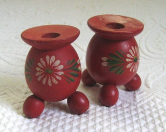 Red wood Candle Holder . hand painted candlestick holder . red candle holder . folk art candleholder . hand turned candleholder