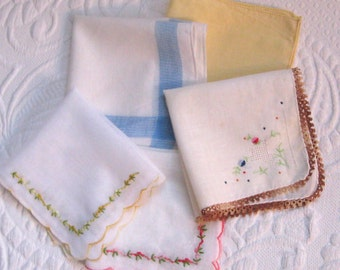 lot of hankies . 5 hankies . 5 vintage hankies