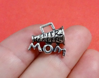 """5, """"CHEER LEADER MOM"""" Charms 17x14x8mm, Hole:Approx 3x2mm"""