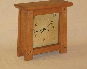 Arts & Crafts, Mission Style Clock - Cherry