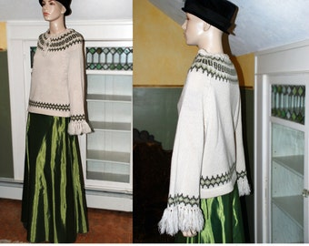 Vintage 70s boho Nordic sweater jumper Nordic pattern knit fringe Weathervane wheat sage green fair isle hippie festival INC US SHIPPING