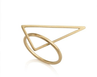 Large Alice Ring, 14k solid gold,  geometric gold ring, thin gold ring,  gold statement ring, triangle ring, 14k yellow gold ring, contour