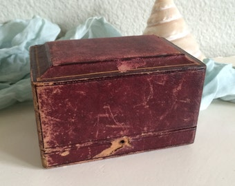 Fine Antique Edwardian Burgundy Leather Small Presentation Box, Gift, Jewelry Box, Velvet & Silk
