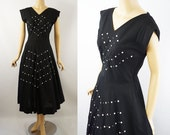1950s Full Skirt Rockabilly Black Linen Dress with Pearl Buttons and Clear Rhinestones B38 W29