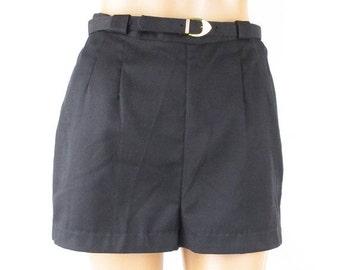 SALE 1960s Black Cotton Twill Shorts - Hot Pants by Jo Collins Deadstock Sz 13 W25