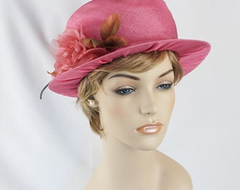 Vintage Hat Bright Pink High Crown Brimmed Top Hat with Pink Silk Flower by Mr Lewis Sz 22