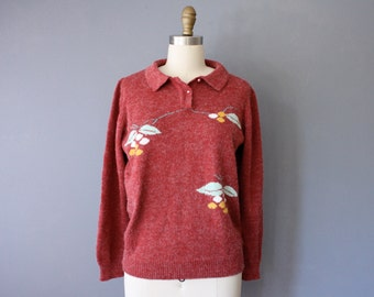vintage embroidered sweater / red pullover sweater / floral pattern collar sweater / medium
