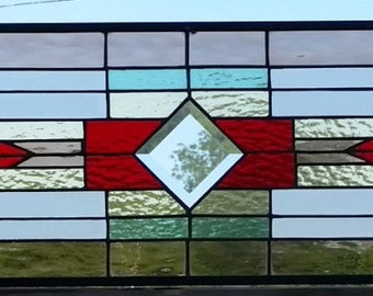 """Stained Glass Window - """"Mission with bevels"""" (W-107)"""