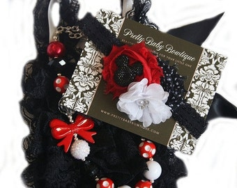 SALE Baby Lace Romper Headband Necklace SET, Minnie Mouse Red and Black Petti Romper And Baby Headband, Baby Outfit, Baby Photo Prop