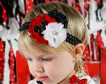 SALE Baby Mickey Headband - Baby Girl Headband - Mouse Headband - Baby Headband - Red and Black Headband Photography Prop
