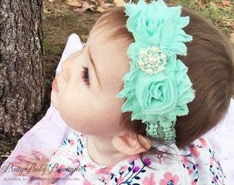 Mint Baby Headband..Newborn Lace Girl Headband..Vintage Inspired Double Frayed Aqua Lace Flower Headband..Headband....Baby Headbands