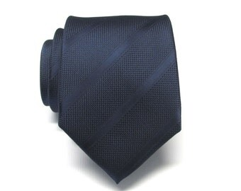 Mens Tie Navy Blue Stripes Necktie With Matching Pocket Square Option