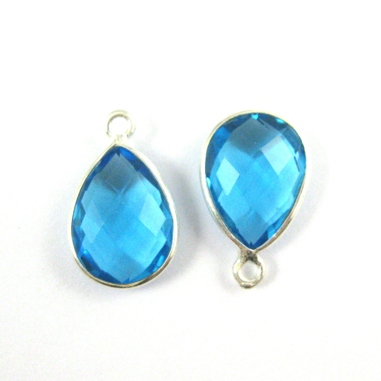 Bezel Pendant- Blue Topaz -Small Teardrop Gemstone Pendant ...