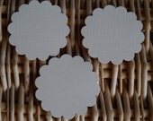 """20 scallop circle gift tags toppers 2.1/4"""" round. cream linen,punch hole option."""