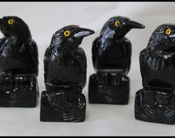 Black Onyx Raven Spirit Totem Animal Gifts for Home Trendy Office Décor Birthday Gifts Protection Stone