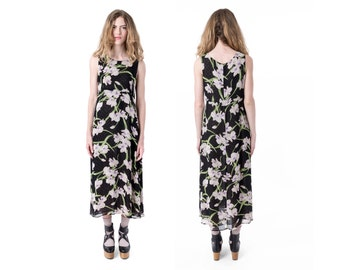 FLORAL maxi DRESS vintage tropical Sheer shift sleeveless 90s flower print Small / better Stay together / loose