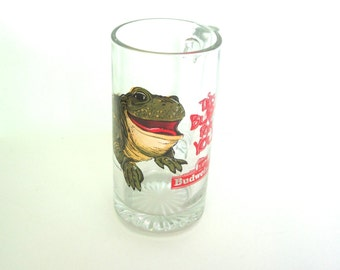 Vintage Budweiser oversize beer glass with green frog