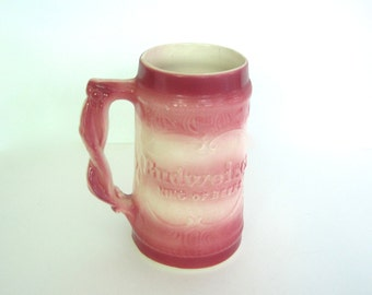 Unique Vintage Pink and Cream Budweiser Beer Stein