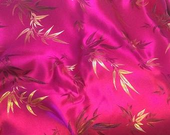 Hot Pink Bamboo - Faux Silk Brocade Fabric - 1 Yard