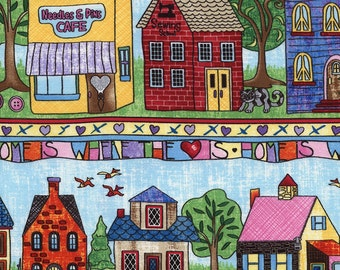 Row by Row Neighborhood 11″ Border Stripe Cotton Fabric Timeless Treasures 1 Yard