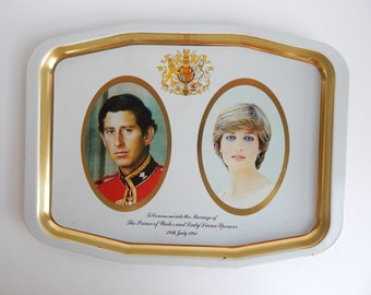 Lady Diana Spencer and Prince Charles Commemorative Wedding Serving Tray / Metal