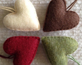 Felt heart ornaments Chocolate brown, cream, deep red and moss green set of 4