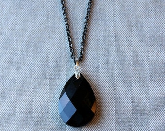 On SALE / CIJ Sale / Jet Black Crystal Pendant, Extra Long Necklace, Black Crystal, Preciosa, Gunmetal Chain, Long Chain