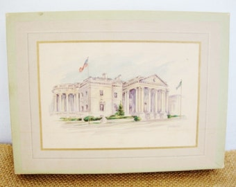 vintage note cards USA capitol white house monuments blank stationery