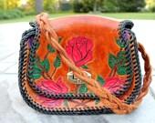 Hand Tooled Rose Print Bag