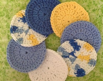 7 Cotton Scrubbies in crocheted holder, a week's supply for makeup removal and face cleaning