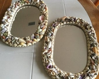 Vintage Sea Shell Art Mirror Frame - Home and Living,  Ready to Ship
