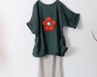 ready to wear plus size flower fold emerald linen dress bust 60 inch room