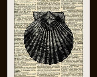 Art Print SEASHELL 8x10 Dictionary Gold Gilded Vintage Page