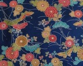 Vintage Japanese Kimono Fabric - Butterflies and Flowers on Midnight Blue