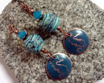 Seahorse on Blue Earrings, Handmade Lampwork, Copper earwires, Beach Summer Ocean