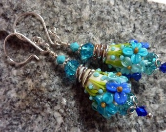 Aqua Blue Floral Cream Cone Earrings, Floral Drop Dangle, Sterling Silver, Handmade Lampwork