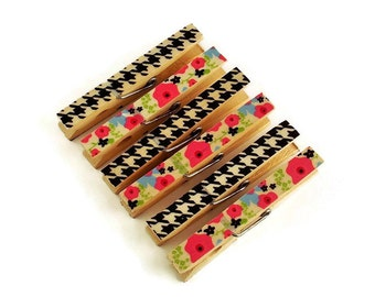 Altered Clothespin  Clips  Decorative  Wooden Clothespins in Lola