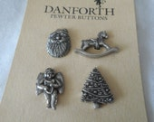 Set of 4 Danforth Pewter Metal Christmas BUTTONS